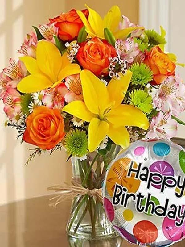 European Grandeur Happy Birthday Bouquet Flower Cart Inc